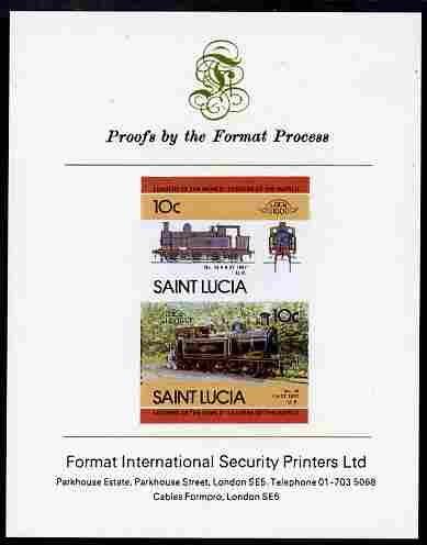 St Lucia 1985 Locomotives #4 (Leaders of the World) 10c '0-6-2 Tank' se-tenant pair imperf mounted on Format International proof card