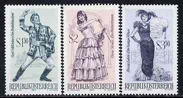 Austria 1970 Famous Operettas #1 set of 3 unmounted mint, SG 1585, 87 & 89, Mi 1331-33