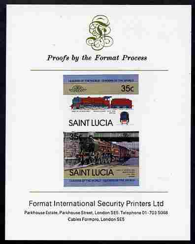 St Lucia 1983 Locomotives #1 (Leaders of the World) 35c Duke of Sutherland se-tenant pair imperf mounted on Format International proof card