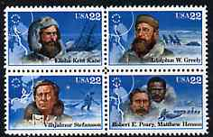 United States 1986 Polar Explorers set of 4 in se-tenant block unmounted mint, SG 2227a