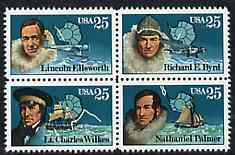 United States 1988 Antarctic Explorers set of 4 in se-tenant block unmounted mint, SG 2373a