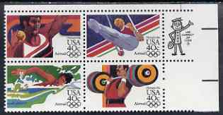 United States 1983 Los Angeles Olympics (1st issue) set of 4 in se-tenant block unmounted mint, SG A2025a