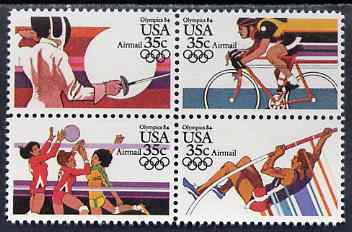 United States 1983 Los Angeles Olympics (4th issue) set of 4 in se-tenant block unmounted mint, SG A2061a
