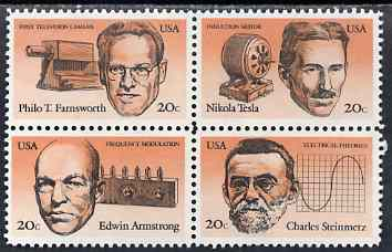 United States 1983 American Inventors set of 4 in se-tenant block unmounted mint, SG 2051a