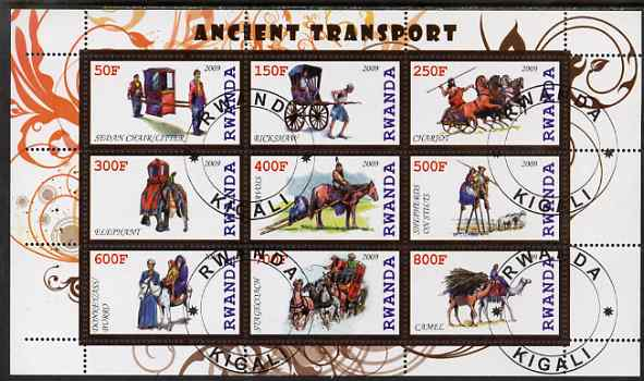 Rwanda 2009 Early Transport perf sheetlet containing 9 values fine cto used