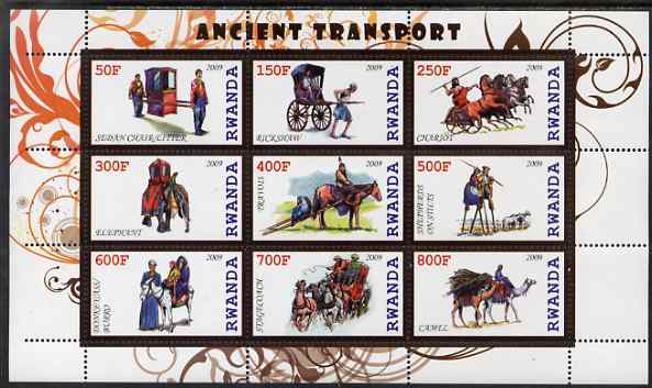 Rwanda 2009 Early Transport perf sheetlet containing 9 values unmounted mint