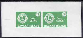 Davaar Island 1965 Lions International imperf m/sheet containing set of 2 (1s6d & 3s green) unmounted mint