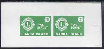 Sanda Island 1965 Lions International imperf m/sheet containing set of 2 (1s6d & 3s green) unmounted mint