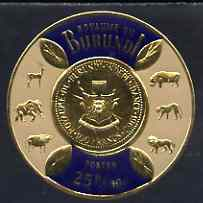 Burundi 1965 Gold Coinage 25f + 50c showing 100f coin unmounted mint, SG 165