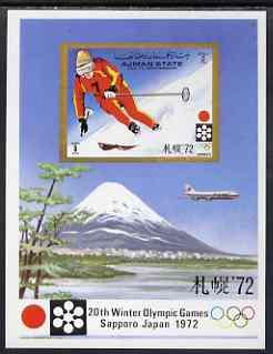 Ajman 1971 Sapporo Winter Olympics imperf m/sheet (Skiier) unmounted mint Mi BL 335