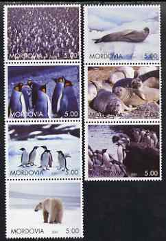 Mordovia Republic 2001 Artic Wildlife perf set of 7 values complete unmounted mint