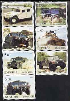 Buriatia Republic 2001 4x4 (Jeeps) perf set of 7 values complete unmounted mint