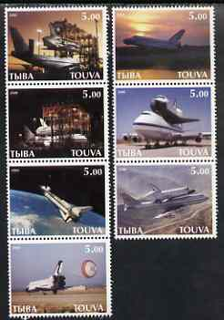 Touva 2000 Space Shuttle perf set of 7 values complete unmounted mint, stamps on aviation, stamps on space, stamps on shuttle, stamps on boeing, stamps on 747