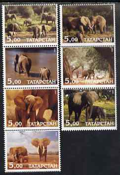 Tatarstan Republic 2000 Elephants perf set of 7 values complete unmounted mint, stamps on animals, stamps on elephants