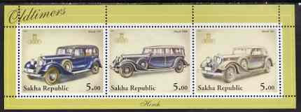 Sakha (Yakutia) Republic 2001 Oldtimers #1 (Horch Cars) perf sheetlet containing set of 3 values complete unmounted mint