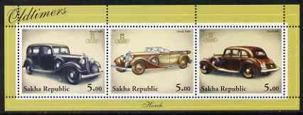 Sakha (Yakutia) Republic 2001 Oldtimers #2 (Horch Cars) perf sheetlet containing set of 3 values complete unmounted mint