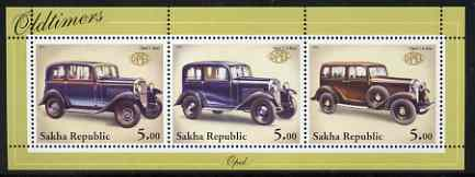 Sakha (Yakutia) Republic 2001 Oldtimers #4 (Opel Cars) perf sheetlet containing set of 3 values complete unmounted mint
