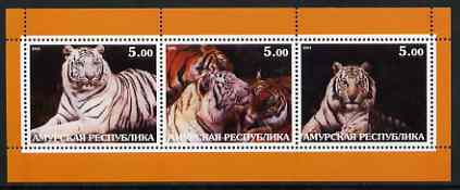 Amurskaja Republic 2001 Tigers #1 perf sheetlet containing set of 3 values complete unmounted mint
