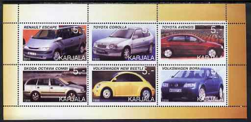Karjala Republic 1998 Modern Cars perf sheetlet containing set of 6 values complete unmounted mint