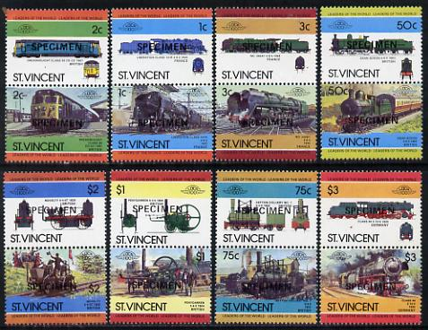 St Vincent 1984 Locomotives #2  (Leaders of the World) set of 16 opt'd SPECIMEN (as SG 792-807) unmounted mint