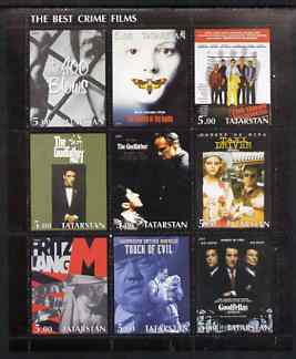 Tatarstan Republic 2001 Film Posters #2 (Best Crime Films) perf sheetlet containing set of 9 values complete unmounted mint