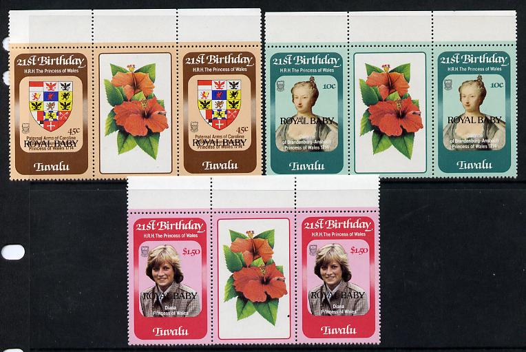 Tuvalu 1982 Birth of Prince William set of 3 gutter pairs unmounted mint, SG 189-91