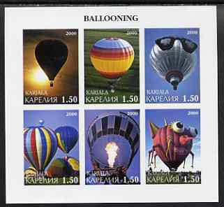 Karjala Republic 2000 Ballooning imperf sheetlet containing set of 6 values complete unmounted mint