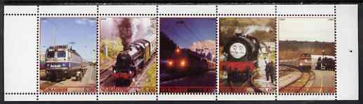 Chuvashia Republic 1999 Railway Locos perf sheetlet containing set of 5 values complete unmounted mint