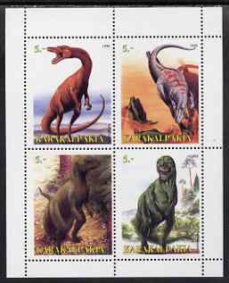 Karakalpakia Republic 1998 Dinosaurs perf sheetlet containing 4 values complete unmounted mint