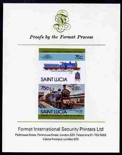 St Lucia 1985 Locomotives #4 (Leaders of the World) 75c 'Dunalastair 4-4-0' se-tenant pair imperf mounted on Format International proof card