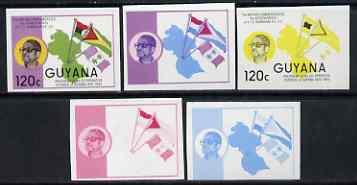 Guyana 1986 Pres Burnham Commem 120c set of 5 imperf progressive proofs comprising 2 individual colours, two 2-colour composites plus all 4 colours unmounted mint