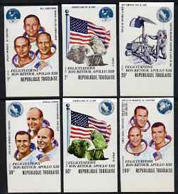Togo 1970 Safe Return of Apollo 13 set of 6 imperf from limited printing unmounted mint, as SG 757-62