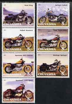 Chuvashia Republic 2001 Harley Davidson Motorcycles perf set of 7 values complete unmounted mint