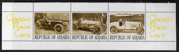Adjaria 2001 Classic Race Cars perf sheetlet containing set of 3 values complete unmounted mint, stamps on racing cars, stamps on cars