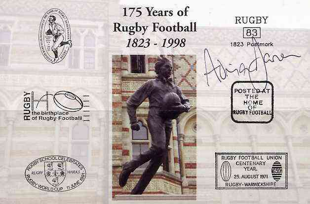 Postcard privately produced in 1998 (coloured) for the 175th Anniversary of Rugby, signed by Adrian Davies (Wales - 9 caps) unused and pristine