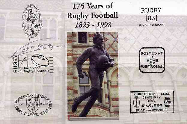 Postcard privately produced in 1998 (coloured) for the 175th Anniversary of Rugby, signed by Alessio Galasso (France - 2 caps & Montferrand) unused and pristine