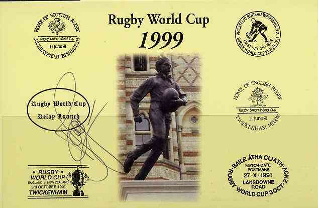 Postcard privately produced in 1999 (coloured) for the Rugby World Cup, signed by Olivier Magne (France - 45 caps & Montferrand) unused and pristine