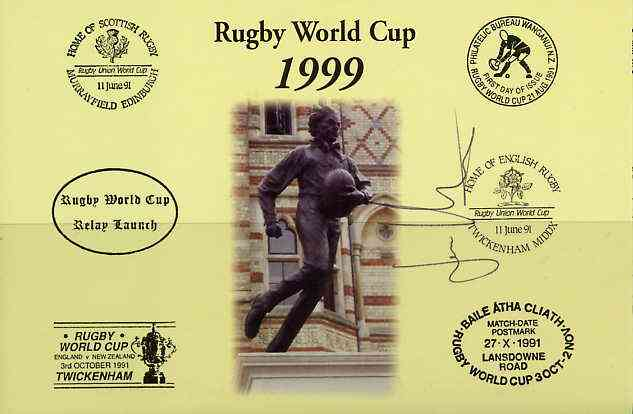 Postcard privately produced in 1999 (coloured) for the Rugby World Cup, signed by Jan Machacek (Czech Republic & Montferrand) unused and pristine