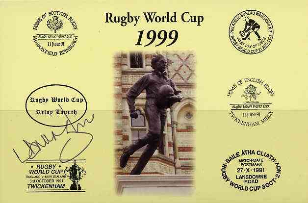 Postcard privately produced in 1999 (coloured) for the Rugby World Cup, signed by Lawrence Dallaglio (England - 47 caps & Captain, plus British Lions & Wasps) unused and pristine