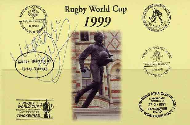 Postcard privately produced in 1999 (coloured) for the Rugby World Cup, signed by Matt Dawson (England - 42 caps & Captain, plus British Lions & N'hampton) unused and pristine, stamps on rugby, stamps on sport