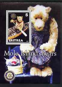 Eritrea 2001 Mole Island Teddy Bears perf m/sheet #3 (with Rotary logo) unmounted mint