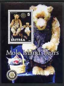 Eritrea 2001 Mole Island Teddy Bears perf m/sheet #4 (with Rotary logo) unmounted mint