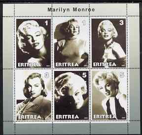 Eritrea 2001 Marilyn Monroe perf sheetlet #1 containing 6 values unmounted mint
