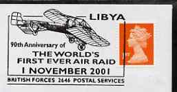 Postmark - Great Britain 2001 cover with '90th Anniversary of First Air Raid' British Forces cancel illustrated with a Bleriot XI