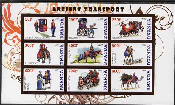 Rwanda 2009 Early Transport imperf sheetlet containing 9 values unmounted mint