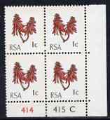 South Africa 1969 Kafferboom Flower 1c unmounted mint plate block of 4 (with horiz & vert phosphor bands) SG 283