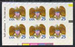United States 1989 Eagle & Shield 29c self-adhesive stamp in pane of 6, unmounted mint as SG 2416