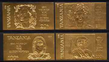 Tanzania 1985 Life & Times of HM Queen Mother imperf set of 4 values inscribed 'HM the Queen Mother', embossed in 22k gold foil (different inscription to issued stamps) unmounted mint