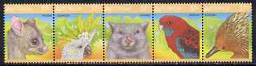 Australia 1987 Australian Wildlife (2nd series) se-tenant strip of 5 unmounted mint, SG 1072a