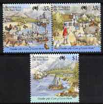Australia 1987 Bicentenary of Australian Settlement (9th series) set of 3 unmounted mint, SG 1090-92, stamps on ships, stamps on sheep, stamps on ovine, stamps on cattle, stamps on geese
